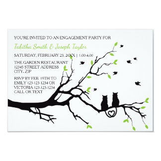 Katzen in einem Baum - Party der Verlobungs-3x5 Karte
