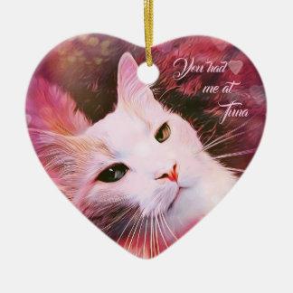 Katzen-Liebe-Herz-lustige Spaß-Rosa Valentin Keramik Ornament