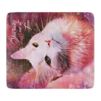 Katzen-Liebe-Herzlustiges rosa Schneidebrett