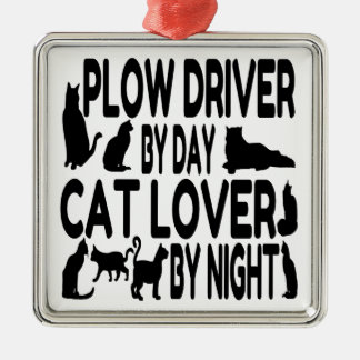 Katzen-Liebhaber-Pflug-Fahrer Silbernes Ornament