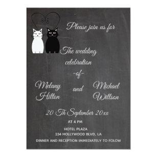 Schön Katzen Paarhochzeit Der Tafel Modische Lustige Einladung