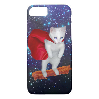 Katzen-Reitspeck im Raum mit Superheld-Kap iPhone 7 Hülle