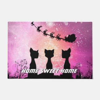 Katzen schaut zum Himmel zu Weihnachtsmann Türmatte