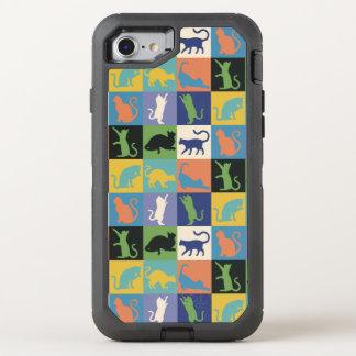 Katzen-Silhouette-Steppdecken-Quadrate in den OtterBox Defender iPhone 8/7 Hülle