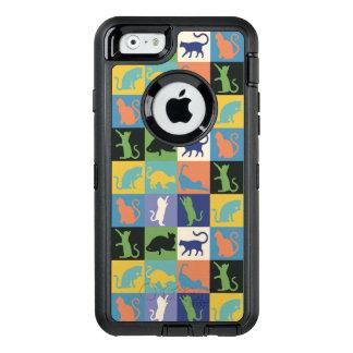 Katzen-Silhouette-Steppdecken-Quadrate in den OtterBox iPhone 6/6s Hülle