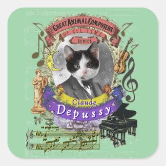 Katzen-Tier-Komponisten Claudes Depussy niedliche Quadratischer Aufkleber