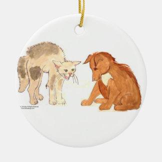 Katzen-u. Hundeverzierung Rundes Keramik Ornament