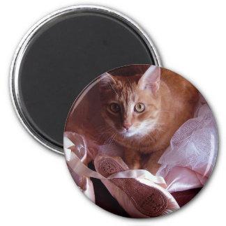 Katzen-und Ballett-Pantoffel Runder Magnet 5,7 Cm