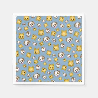 Katzen und Hund Emojis (blau) Papierserviette