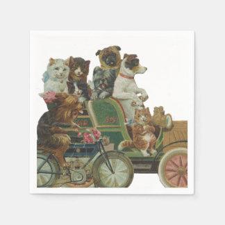 Katzen und Hunde Louis Wain im antiken Auto Servietten