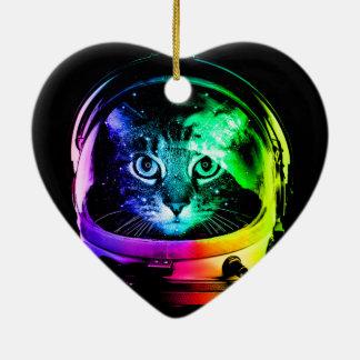 Katzenastronaut - Raumkatze - lustige Katzen Keramik Ornament