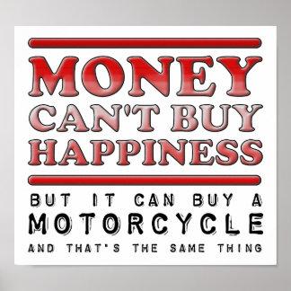 Kaufendes Glück-Motorrad lustiges Plakat