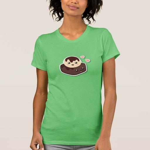 Kawaii Cartoon der Vanilleeis-Creme und des Schoko T Shirts