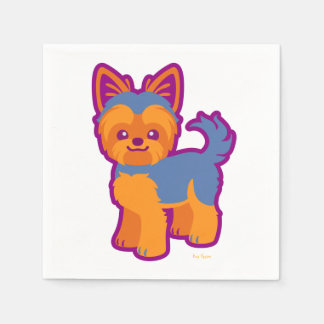 Kawaii kurzer Haar Yorkie Cartoon-Hund Papierserviette