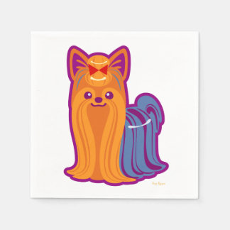 Kawaii langer Haar Yorkie Cartoon-Hund Papierserviette