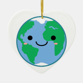 Kawaii Planeten-Erde Keramik Herz-Ornament