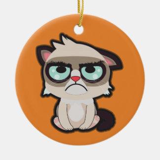 Kawaii, Spaß und lustige grimmy Katze rundes Keramik Ornament