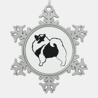 Keeshond-Grafiken Schneeflocken Zinn-Ornament