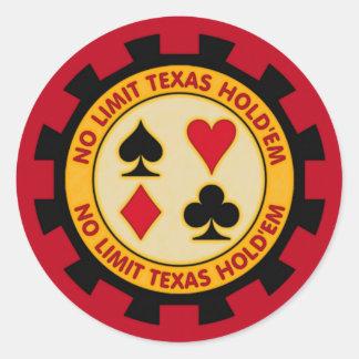 Keine Grenze Texas halten sie Poker-Chip Runder Aufkleber