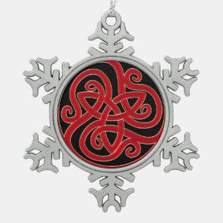 Keltische Knoten-Weihnachtsbaum-Verzierung Schneeflocken Zinn-Ornament