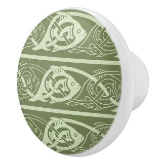 Keltische Knüpfarbeit-Fische im Grün Keramikknauf