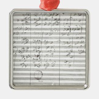 Kerbe für die 3. Bewegung der 5. Symphonie Quadratisches Silberfarbenes Ornament