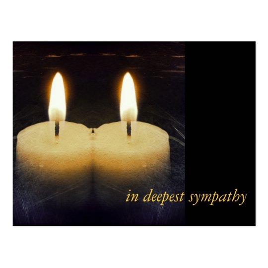 """kerzen """"in deepest sympathy"""" postkarte"""