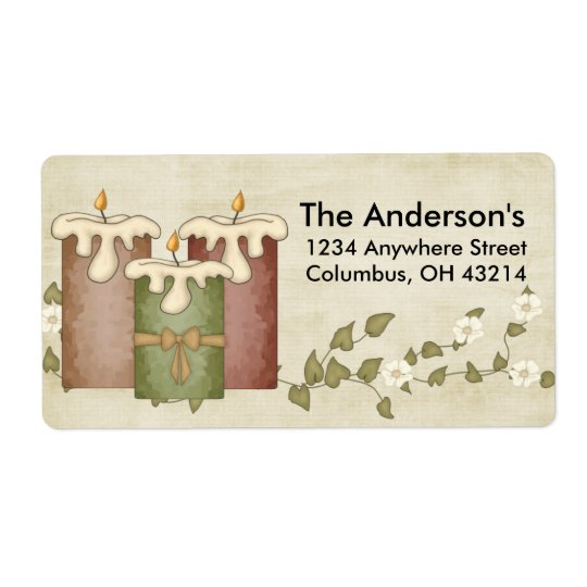 Kerzen mit Blumen-Rebe:: Adressen-Etiketten Versandetiketten