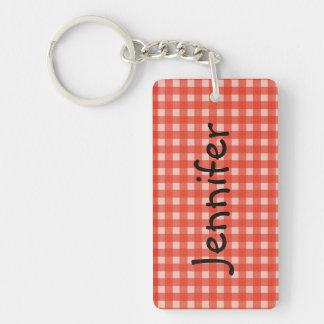 Keychain, rechteckiger roter und weißer Karo Schlüsselanhänger