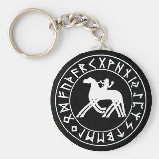 Keychain Sleipnir Schild auf Schwarzem Standard Runder Schlüsselanhänger