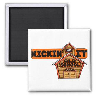 Kickin es alte Schule Quadratischer Magnet