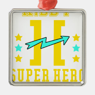 Kidd Superheld-Trainingstraining Quadratisches Silberfarbenes Ornament