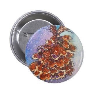 Kiefern-Kegel-Grafik Runder Button 5,7 Cm