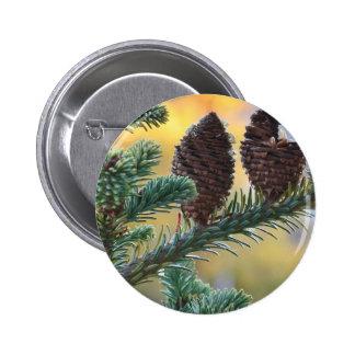 Kiefern-Kegel-Waldnatur-Szene Runder Button 5,7 Cm