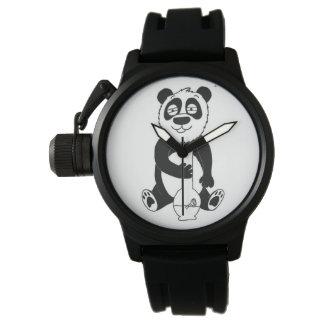 Kiffer-Panda-Kronen-Schutz-Gummibügel-Uhr Handuhr