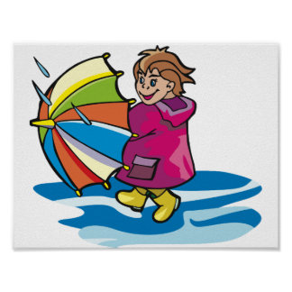 Kind im Regen-Plakat Poster