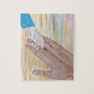 Kind, welches die Hand des Vaters hält Puzzle