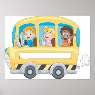 Kinder auf einem Schulbus-Plakat Poster