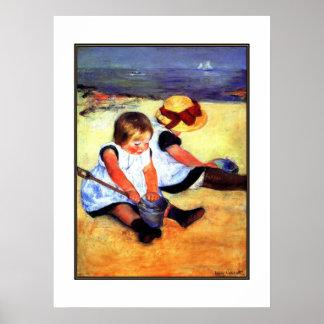 Kinder der Plakat-Vintage Kunst-zwei am Strand Poster