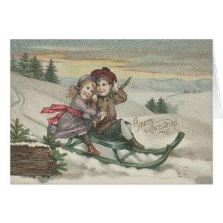 Kinder, die Weihnachtsbaum-Schnee-Winter Sledding Karte