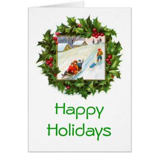 Kinder, die WeihnachtsKranz-Karte Sledding sind Karte