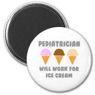 Kinderarzt… arbeitet für Eiscreme Runder Magnet 5,1 Cm