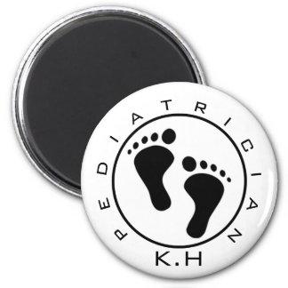 Kinderarzt-Baby-Füße zuerst u. zuletzt Runder Magnet 5,7 Cm