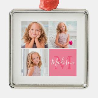 Kinderfamilien-Quadrat-Foto-Monogramm-Weihnachten Silbernes Ornament