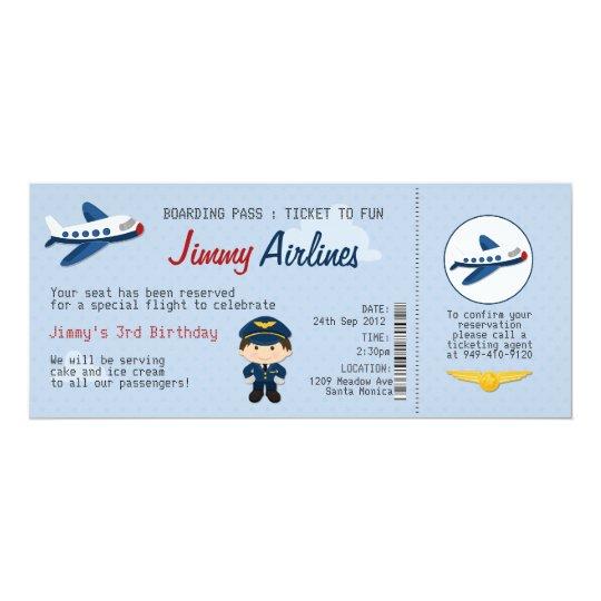 Kinderfluglinien-Karten-Geburtstags-Party 10,2 X 23,5 Cm Einladungskarte