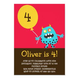 Kindergeburtstag-Einladung - blaues verrücktes 12,7 X 17,8 Cm Einladungskarte
