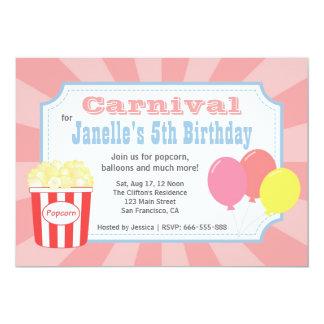 Kindergeburtstag - Karneval mit Popcorn u. 12,7 X 17,8 Cm Einladungskarte