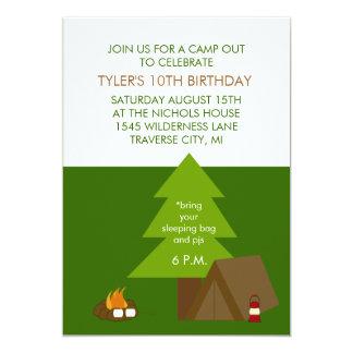 Kindergeburtstag-Party kampieren heraus 12,7 X 17,8 Cm Einladungskarte