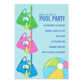 Kindergeburtstag-Pool-Party Einladungen