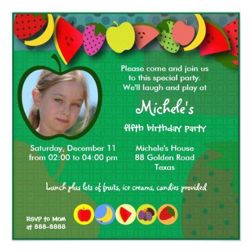 Kindergeburtstageinladung 045: Früchte Personalisierte Einladungskarte